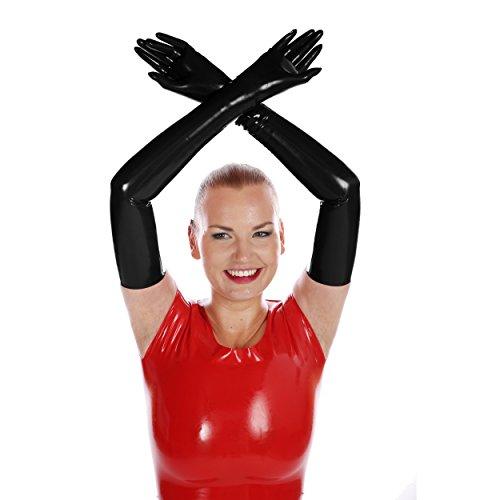 Schulterlange Latex - Handschuhe in verschiedenen Größen und Farben schwarz XL