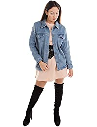 Damen Destroyed Jeans Jacke Kylie Jenner Style Ripped I Feel Like Kylie Frühlingsmode für den Übergang Fashion