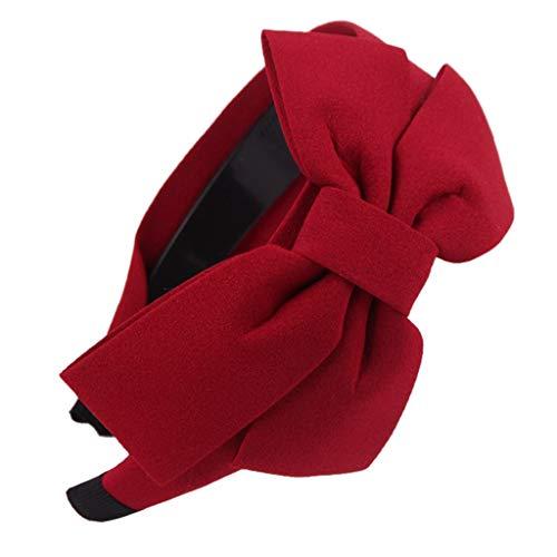 Stirnband Breiten Haarband Großen Bowknot Gestreiften Plaid Polka Dot (7# Rot) ()