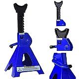 Melko 2X Unterstellböcke für Kfz, Auto, Transporter, Wohnmobil, 3t Tragkraft aus Gusseisen, 9 stufig höhenverstellbar, 28 – 41 cm, blau schwarz