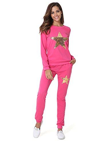 Hownew-X Damen Schlafanzüge mit Sterne Muster Elegant Pyjama Oberteile und Hose Set Jogginganzug Tracksuit Set (L, Rosa)