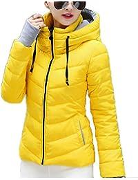 Runyue Mujer Invierno Corta Abrigo Cazadoras De Plumas Slim Parka Abajo Chaqueta Acolchada con Capucha Amarillo