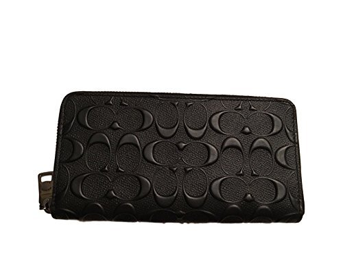 Coach Men's Embossed Signature logo Durable Leather Long Wallet (Black)