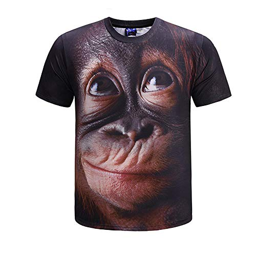 LHDDD Herrenhemd T-Shirt Orang-Utan 3D-Druck T-Shirt Herren Kurzarm Rundhals Trend Herrenhemd Multi-Colored-XXXL (Shorts Kletter-t-shirt)