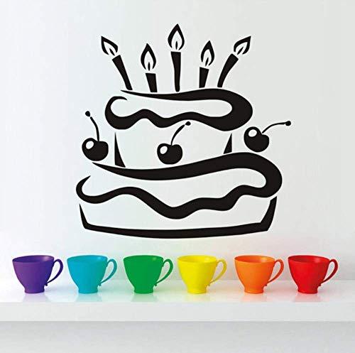 Aufkleber Der Wand 3Dpvc Wasserdichte Küche Kirsche Geburtstagstorte Mit Kerzen Wandaufkleber Modernes Design Geschenk Vinyl Klebstoff Tapete Wohnkultur 59X59 Cm (Mit Schrank Kirsche Türen Glas)