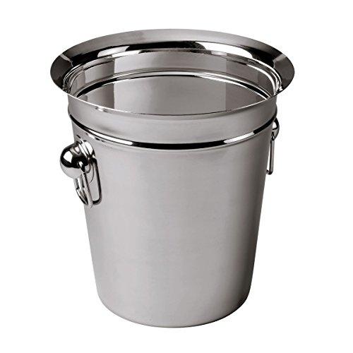 axentia Champagnerkühler matt-glänzend in Silber, Sektkühler aus Edelstahl, Weinkühler mit praktischen Griffen und Abgießrand, Maße: ca. Ø 22  x H 20,5 cm