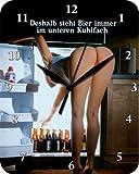 Deshalb Steht Bier Unten Blech Wanduhr Stabil NEU 26x20cm U587