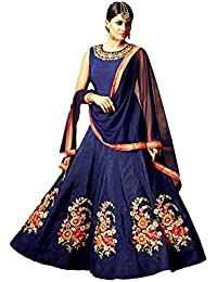 Kyara Women's Georgette Semi-Stitch Embroidered Dress Material (K02_Blue_Free Size)