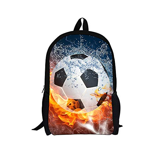 Pamabag Schulrucksack,Das EIS Feuer Fußball Bedruckt Rucksack Wasserdicht Für Grundschüler 6-12 Grad Kinder- Schule Tasche 16 Zoll Leichte Und Robuste Laptoptasche Travel Bag -