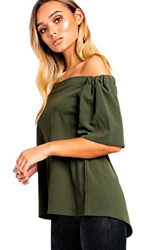 IKRUSH Women's Mason Off Shoulder Top in Khaki Size S/M