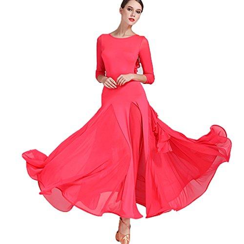 Elegant Big Swing moderner Übungsrock Mesh Ballsaal Kostüme Lange Ärmel Turnanzug Einfache Tangokleider für Frauen Rückenfrei, ()