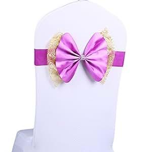 Shzons 10PCS elastico antimacchia Bow coprisedia per festa di nozze eventi, ampia sedia fiocchi oro con bordi in pizzo decorazione (Sapphireblue) Gold