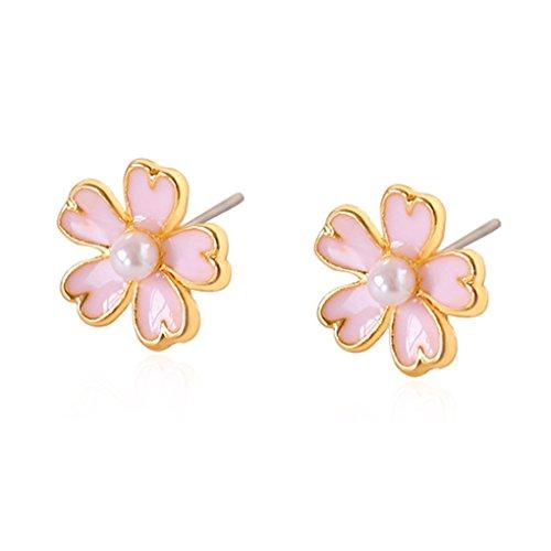 Lidahaotin 1 Pair Women Girls Flower Hook Earrings Pearl Drop Stud Earrings Girls Wedding Party Dangle Clip Earrings