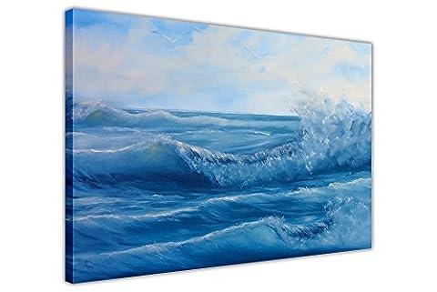 Blue Ocean Waves auf Rahmen Leinwand Kunst Bilder Querformat Prints Ölgemälde Nachdruck, canvas, blau, 06- A0 - 40