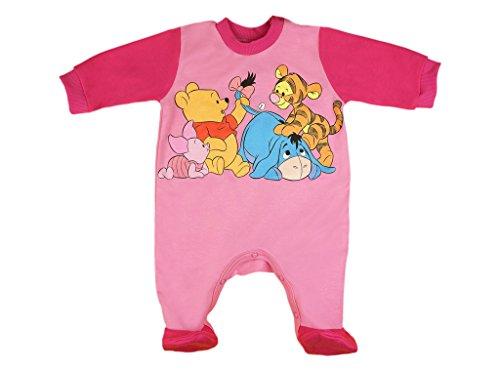 BABY-STRAMPLER mit Füßchen Jungen oder Mädchen, LANG-ARM, Spiel-Anzug mit Druck-Knöpfen, BABY-SCHLAFANZUG Winnie Pooh, Grösse 56, 62, 68, 74, für Neugeborene in rosa, blau, weiß Color Rosa, Size (Der Pooh Strampelanzug Bär)
