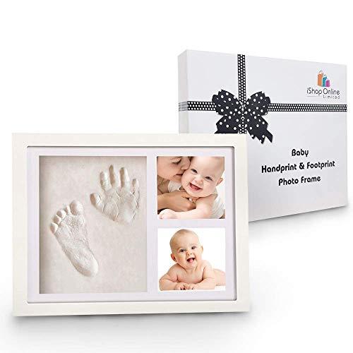 Bastel-Set für Fuß- und Handabdruck von Babys, mit Fotorahmen, individuelles Geschenk zu Geburt oder Taufe, mit Wandhalterung und Standfunktion, in Geschenkschachtel mit aufgedruckter Schleife