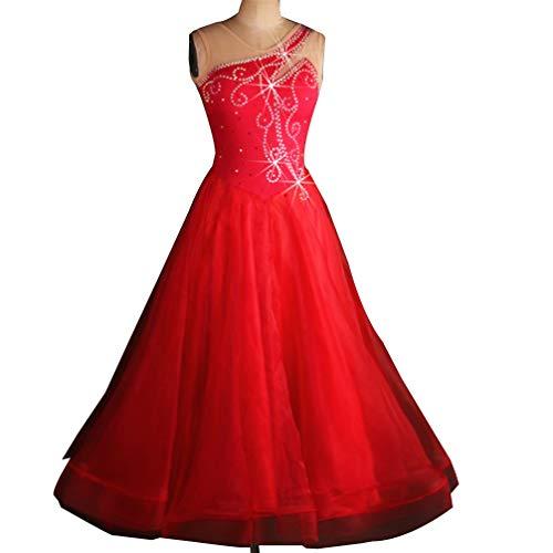 Ärmellos Moderner Tanz Wettbewerb Kleider für Damen National Standard Ballsaal Tanz Kostüm Flash-Drill Performance Tanzrock, ()