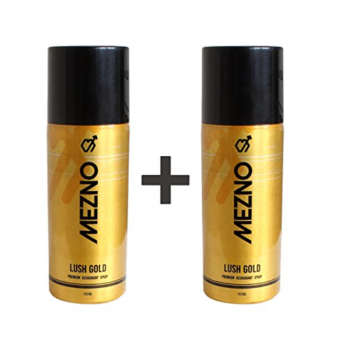 Mezno Lush Gold Unique International Fragrance Deodorant Body spray For Men - 24 Hrs Fresh Power Deo - 150ml (Pack of 2 )