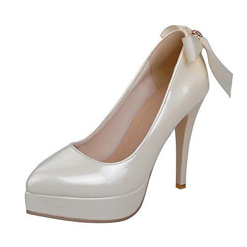 AgooLar Damen Eingelegt Pu Leder Hoher Absatz Spitz Zehe Ziehen Auf Pumps Schuhe Cremefarben