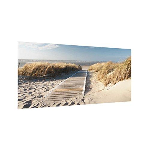Bilderwelten Spritzschutz Glas - Ostsee Strand 59 x 120cm für Herd Spüle Arbeitsplatte