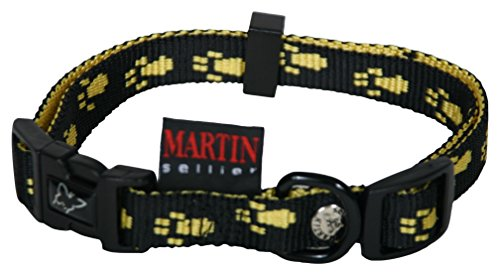 martin-sellier-paw-print-nylon-dog-collar-yellow-20-40-55-cm