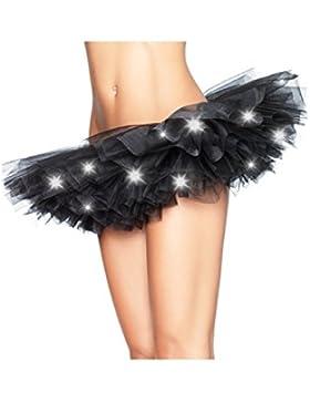 Las Mujeres Mini Tutu Falda Con Capas De Tul Danza De Luz LED Para La Fiesta De Disfraces