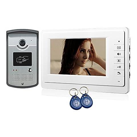 17,8 cm TFT LCD Moniteur interphone vidéo Vision nocturne Caméra Sonnette de sécurité maison Porte RFID accès Système