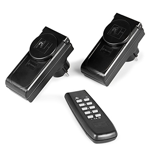 funksteckdosen outdoor Tecvance Funksteckdosen-Set für Außen, 2 Funksteckdosen mit Fernbedienung und Batterien, GS-zertifiziert, integrierte Kindersicherung, schwarz