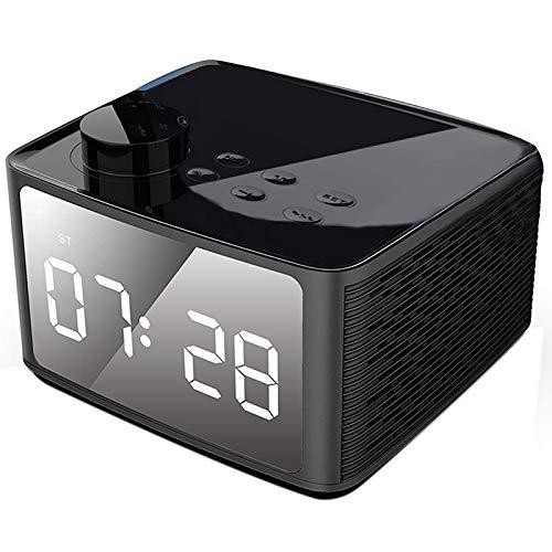TOOGOO Wecker Radio Drahtloser Bluetooth Lautsprecher Mit Fm Radio & Handy St?nder, Blaue 4 Zoll Ziffern Anzeige Mit 3-Pegel Dimmer, Dual Stereo Treiber, 6-8 Stunden Spielzeit Schwarz - Ihome-radiowecker