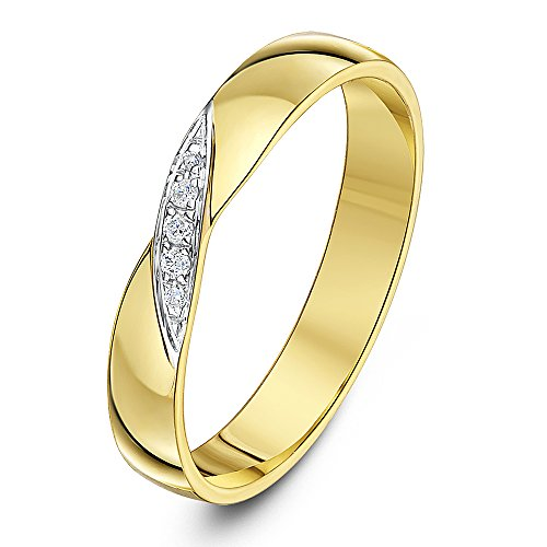 Theia 9ct Yellow Gold 0.04ct Diamond Cross Over 3.5mm Wedding Ring - Size Z