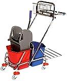Euroservice - Carrello per le pulizie cromato, con 2 secchi da 17 Lt cad., supporto sacchi immondizia da 70 litri, cestino da appendere