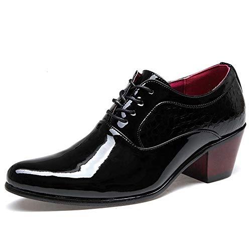 Huaishu Chaussures en Cuir Pointues pour Hommes Chaussures Formelles à la Main formées à la Main et renforcées d'uniforme Noir