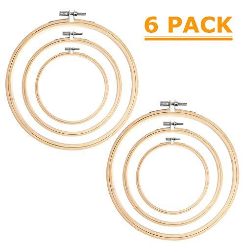 AYE 6 Stücke Stickrahmen Bambus Kreis Kreuzstich Hoop Ring für DIY Kunsthandwerk Handliches Nähen, 8 cm, 13 cm und 18 cm