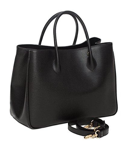 """Winter & Co. Daybag """"L"""" Damen Handtasche Umhänge-tasche Business-tasche groß aus edlem Leder handgefertigt in Italien mit toller Innenaufteilung elegant und funktional (schwarz)"""