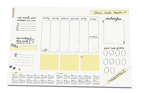 Schreibtischunterlage SCHÖNE-WOCHE-MACHER aus Papier zum Abreißen, A3 (30 x 42 cm), 25 Blatt Schreibunterlage Recyclingpapier, Kalender 2017 & 2018, Wochenplaner Abreißblock, weiß