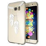 NALIA Handyhülle für Samsung Galaxy S7 Edge, Slim Silikon Motiv Case Hülle Cover Crystal Schutzhülle Dünn Durchsichtig, Etui Handy-Tasche Backcover Transparent Bumper, Designs:Chain Feathers