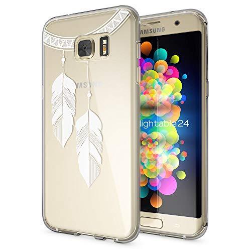 galaxy s 7 edge huelle NALIA Handyhülle für Samsung Galaxy S7 Edge, Slim Silikon Motiv Case Hülle Cover Crystal Schutzhülle Dünn Durchsichtig, Etui Handy-Tasche Backcover Transparent Bumper, Designs:Chain Feathers