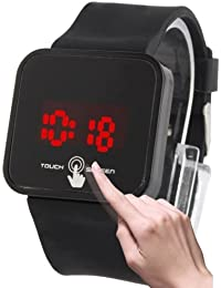 Stylish Unisex Capacitive Touch Screen Electronic LED reloj reloj Timepiece con silicona Band (Black)