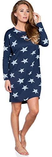 Italian Fashion IF Damen Nachthemd Star 0115 (Dunkelblau, L)