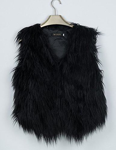 CRAVOG Damen Fellweste Kunstpelz ärmellose Jacke Weste aus Pelz Weste schwarz grau Schwarz