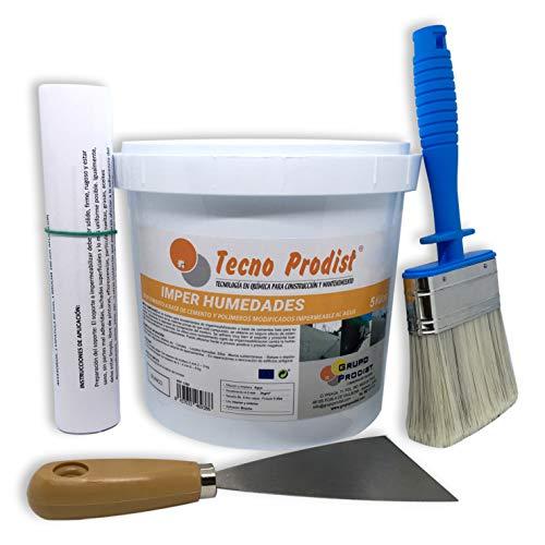 IMPER HUMEDADES de Tecno Prodist - (5 Kg) Mortero para revestimiento de Impermeabilización. Tratamiento humedades en muros, sótanos, etc.Impermeable al agua, fácil de usar + Accesorios e instrucciones