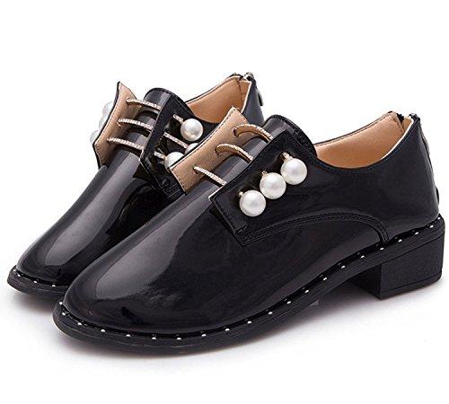 Minetom Donne Primavera Estate Moda Scarpe Britannico Stile Scarpe Scarpe A Punta Nero 36
