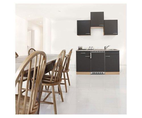 respekta KB150BG Küche Küchenzeile Küchenblock 150 cm Buche GRAU mit Einbaukühlschrank, Einbauspüle, Kochmulde