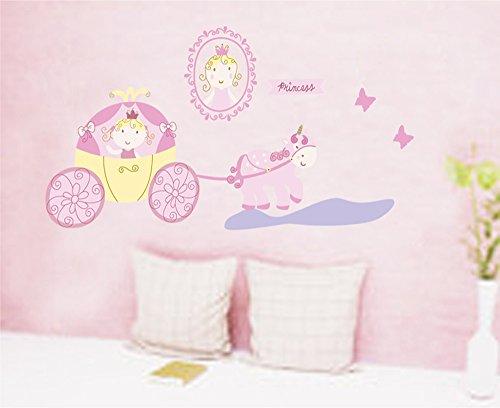 ufengke® Cuento de Hadas de Dibujos Animados Encantadores Mariposas Entrenador Princesa Pegatinas de Pared, Vivero Habitación de Los Niños Removible Etiquetas de La Pared / Murales