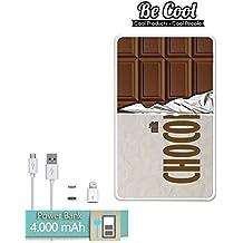 Becool® - Batería Externa Power Bank 4000 mah + Gratis 1 cable USB-MicroUsb (Android) y adaptador lightning (Apple). Tableta de chocolate
