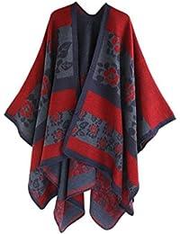 Cape Shawl Kimono Femme Floral, Kolylong Élégant Chandail Cardigan longues  en La laine Châle Écharpe 794a8bc21c0