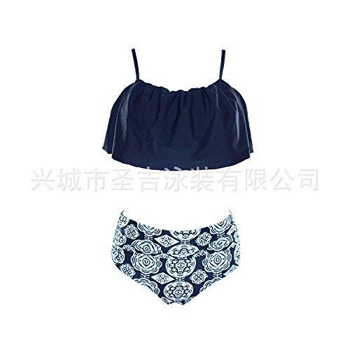 ZHRUI Hohe Taille Bikini Europäische und Amerikanische Hohe Taille Gestreifter Bikini Lotus Leaf Edge Bademode - Tibetische Blaue Serie L (Farbe : Wie Gezeigt, Größe : Einheitsgröße)