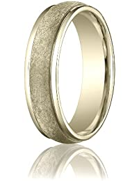 14ct Yellow Gold, 6mm Comfort-Fit Swirl-Finished Carved Band (sz H to Z5)