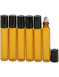 Sharplace 6 Stück 10ml leere Braunglas Roll-on Flasche, Aromatherapie Öl ätherisches Öl Flasche, Parfüm leere Flasche, Nachfüllbar