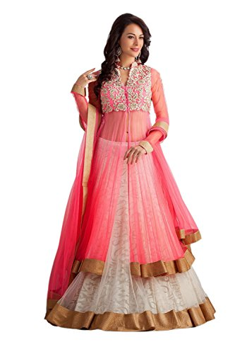 Texstile Women\'s Georgette Salwar Suit (Pink Paanther_WhiteFree Size)